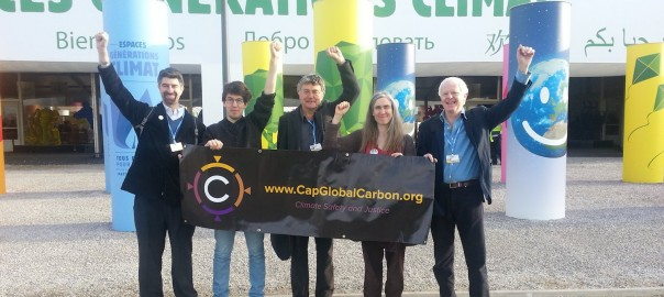Outside the UNGreen Zone at COP- 21 in Paris, Dec 7 2015: Feasta delegates Mike Sandler, Erik-Jan Van Oosten, RobertHutchison, CarolineWhyte and Laurence Matthews